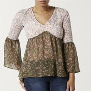 BONGO Twin Print Floral Bell Sleeve Sheer Blouse